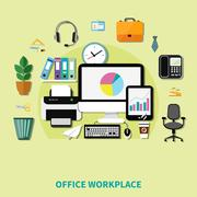 Office Workplace Composition Stock Illustration