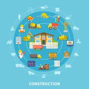 Flat Construction Elements Stock Illustration