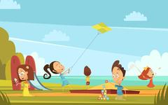 Playing Children Background Stock Illustration