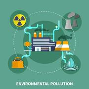 Environmental pollution object vector illustration Stock Illustration
