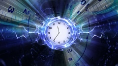 Clocks, Time Travel Tunnel in Fibers Ring, Rendering, Animation, Background, Loo Stock Footage
