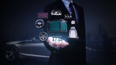 Businessman open palm, Electronic, lithium ion battery echo car. future car. Stock Footage