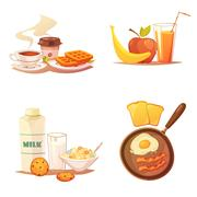 Four Breakfast Icons Compositions Stock Illustration