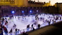 Crowded skating arena - people having fun, timelapse Stock Footage