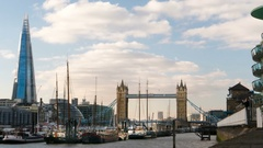 London timelapse  over Thames river - Tower Bridge and Shard in the background Stock Footage