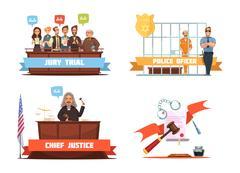 Law Justice 4 Retro Cartoon Icons Piirros