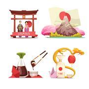 Japan Culture 4 retro Compositions Set Stock Illustration