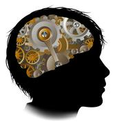 Child Machine Workings Gears Cogs Brain Stock Illustration