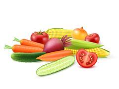 Colorful Fresh Vegetables Template Stock Illustration