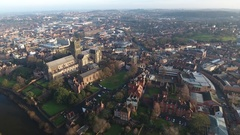 Slow drifting aerial shot of Worcester Cathedral, UK. Stock Footage