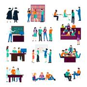 University Person Collection Stock Illustration