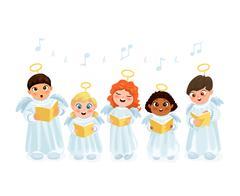 Caroling kids set Stock Illustration