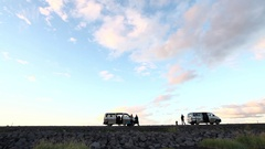 Mini Van car stop at sunset in Iceland Stock Footage