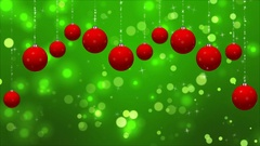 Christmas Classic Red Green background with Ornaments Loop Stock Footage