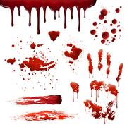 Blood Spatters Realistic Bloodstain Patterns Set Piirros