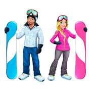 Snowboarders boy and girl Stock Illustration