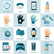 NFC Technology Icons Set Flat Style Stock Illustration