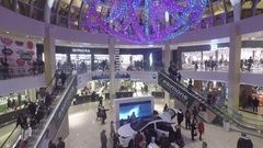 Square One Shopping Centre with beautiful display of holiday lights in the ceili Stock Footage