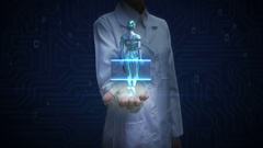 Female doctor open palm, Scanning human skeletal structure inside Robot. Stock Footage