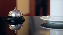 Hotel Concierge. service bell in a hotel Stock Footage