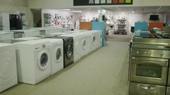 4K Interior of white goods and electronics appliance store showroom. No people. Stock Footage