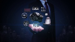 Businessman open palm, Vehicle parts,Engine, seat, panel, future car technology. Stock Footage