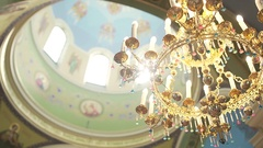 Church interior. Christian religion architecture. Religious catholic old Stock Footage