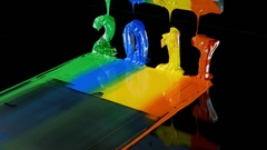 Blend green blue yellow and orange of plastisol ink together Stock Footage