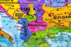 Pristina Kosovo map Stock Photos