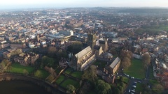 Panning aerial view of Worcester city centre and Cathedral, UK. Stock Footage