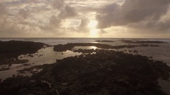Aerial close up view of water waves near strand in Indian Ocean, Mauritius Stock Footage