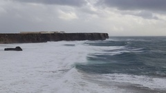 Mighty storm in Sagres, on the beach Tunnel. Portugal Stock Footage