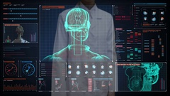 Female doctor touching screen, scanning robot in digital interface. Stock Footage