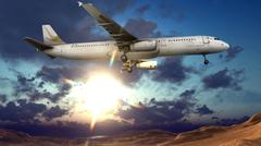 Generic jet airliner in a beautiful cloudy sky 3d rendering Stock Illustration