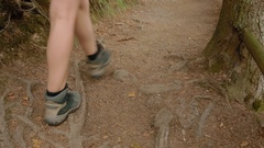 Group of tourists are on the rocky path Stock Footage