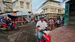 Closeup Scooters Drive along Dirty Narrow Streets in Morning Stock Footage