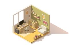 Vector isometric low poly room cutaway icon Stock Illustration