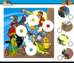 Match pieces game with birds Stock Illustration