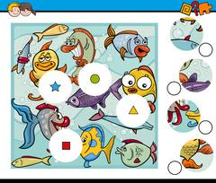 Match pieces game with fish Stock Illustration
