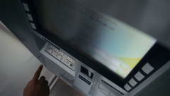 Woman withdraw cash from ATM Stock Footage