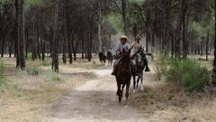 El ROCIO, ANDALUCIA, SPAIN - 26 JUNE 2016 Family Spanish equestrians. Stock Footage