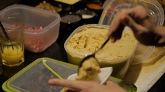 Close up of vegan starters preparation . Healthy food. Stock Footage