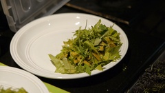 Vegan salad preparations. Healthy food. Stock Footage