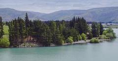 Aerial shot of cromwell in the south island, New Zealand Stock Footage