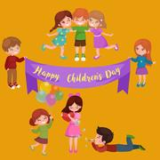 Cute happy childrens day have fun at party, kids playing with joy and celebrate Piirros