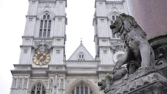 Westminster Abbey in London: a close up of a lion Stock Footage