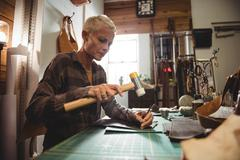 Attentive craftswoman nailing leather Stock Photos