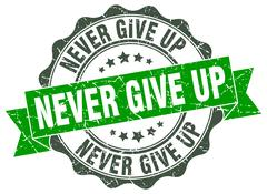 Never give up stamp. sign. seal Stock Illustration