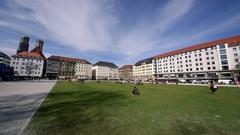 GRASS AREA BUILDINGS MARIENHOF MUNICH GERMANY Stock Footage