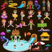Water aquapark playground with slides and splash pads for family fun vector Stock Illustration